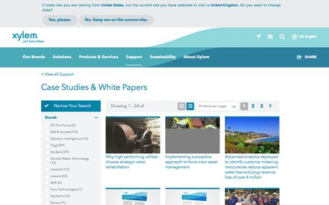 Screenshot of Case Studies Page xylem.com - Case Studies for Water and Wastewater Solutions   Xylem UK - captured Nov. 9, 2019