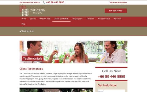 Screenshot of Testimonials Page thecabinchiangmai.com - Testimonials at The Cabin Chiang Mai - captured Aug. 29, 2016