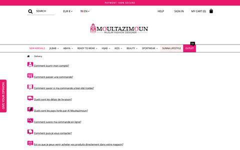 Screenshot of FAQ Page almoultazimoun.com - Delivery - Moultazimoun Boutique - captured Oct. 21, 2018