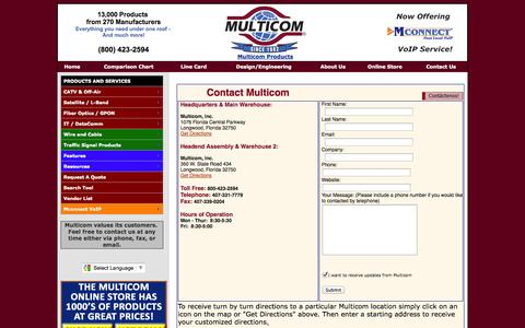 Screenshot of Contact Page Maps & Directions Page multicominc.com - Contact Us - captured Oct. 24, 2014