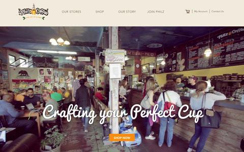 Screenshot of Home Page philzcoffee.com - Philz Coffee - captured Jan. 29, 2016