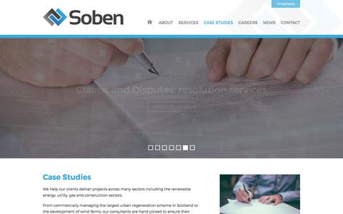 Screenshot of Case Studies Page sobencc.com - Case Studies  |  Soben Contract & Commercial - captured July 7, 2017
