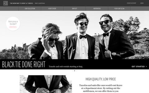 Screenshot of Home Page theblacktux.com - Tuxedo and Suit rentals. Higher Quality, Lower Price. | The Black Tux - captured July 17, 2014