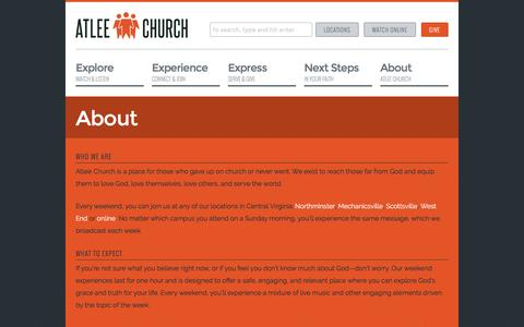 Screenshot of About Page atleechurch.org - About | Atlee Church - captured Nov. 21, 2016