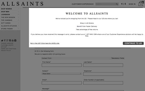 Screenshot of Contact Page allsaints.com - ALLSAINTS : Customer Services & Help - Contact Us Today - captured Sept. 18, 2014