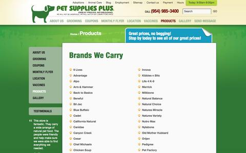 Screenshot of Products Page petstorehollywood.com - Products | Pet Supplies Plus Hollywood | Cat & Dog | Birds & Fish - captured Oct. 2, 2014