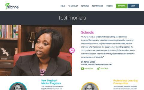 Screenshot of Testimonials Page sibme.com - Sibme - captured June 18, 2017