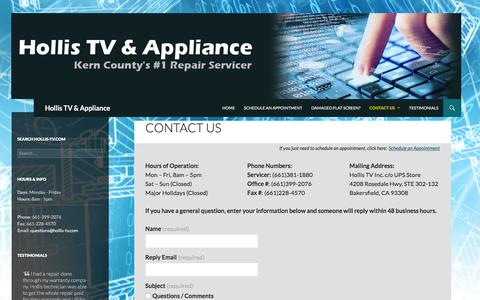 Screenshot of Contact Page hollis-tv.com - Contact Us | Hollis TV & Appliance - captured Jan. 31, 2016