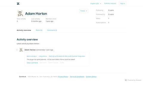 Screenshot of Support Page zendesk.com - User profile for Adam Horton – Zendesk Support - captured Feb. 27, 2017