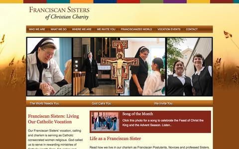 Screenshot of Home Page fscc-calledtobe.org - Franciscan Sisters of Christian Charity - Catholic women religious in service to the world that needs us, living our vocation in a variety of rewarding ministries. We respond to God's call to serve as Franciscan Sisters in Catholic Education, health  - captured Nov. 25, 2016