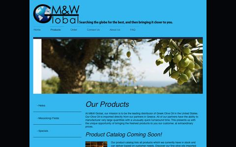 Screenshot of Products Page mandwglobal.com - Products - M&W Global - captured Oct. 3, 2014