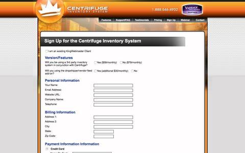 Screenshot of Signup Page centrifugeconnect.com - Sign Up for the Centrifuge Inventory Management System - captured Jan. 26, 2017