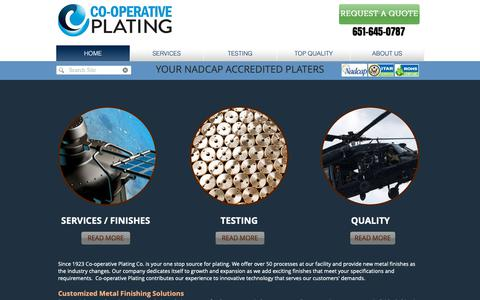 Screenshot of Home Page coopplating.com - Metal Finishing Specialist | Nadcap | Saint Paul | Co-operative Platin - captured Sept. 28, 2018