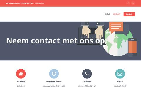 Screenshot of Contact Page Signup Page dicoop.nl - Contact - DiCoOp.nl - captured Feb. 7, 2018