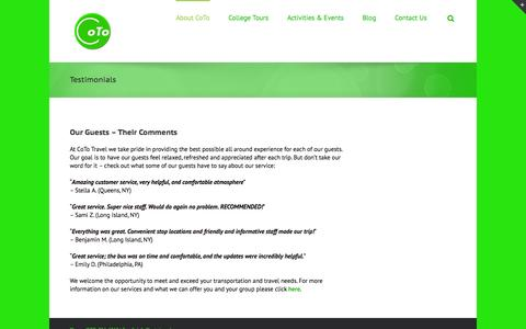 Screenshot of Testimonials Page cototravel.com - Testimonials | CoTo Travel - captured Oct. 28, 2014