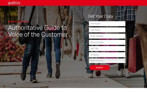 Screenshot of Landing Page qualtrics.com - Qualtrics | Authoritative Guide to Voice of the Customer - captured Feb. 2, 2017