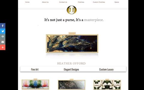 Screenshot of Home Page heatherofford.com - Painted Handbag, Painted Purse, Painted Clutch By Heather offord - Women Handbags, Hand Painted Clutches, Hand Painted Handbags - captured Nov. 5, 2016