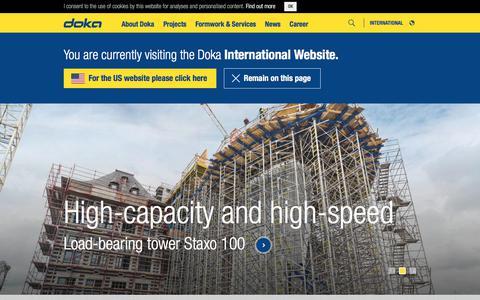 Screenshot of Home Page doka.com - The Formwork Experts. - Doka - captured Oct. 12, 2017