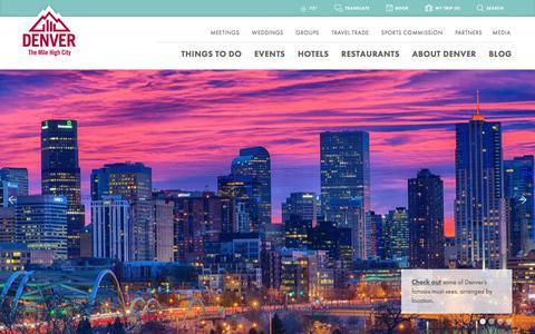 Screenshot of Home Page denver.org - Denver Colorado Vacations & Conventions   Visit Denver - captured Nov. 9, 2016