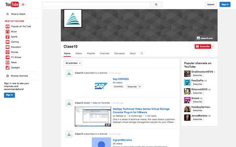 Screenshot of YouTube Page youtube.com - Clase10  - YouTube - captured Oct. 23, 2014