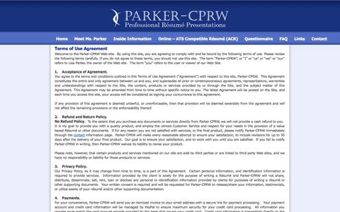 Screenshot of Terms Page parkercprw.com - Parker CPRW - Professional Resume Presentations - Terms of Use Agreement - captured Sept. 27, 2014