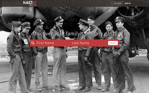 Screenshot of Home Page fold3.com - Fold3 - Historical military records - captured Oct. 31, 2015