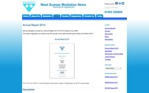 Screenshot of Press Page wsms.org.uk - West Sussex Mediation News | Working for Agreement - captured Oct. 7, 2014