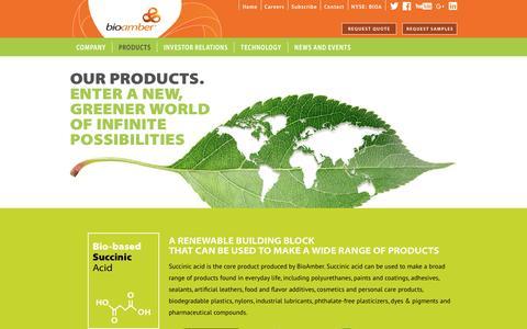 Screenshot of Products Page bio-amber.com - BioAmber Products | Bio-Succinic Acid (Bio-SA™), Bio-1,4-Butanediol (Bio-BDO), Bio-Disodium Succinate (Bio-DSS™) - captured July 3, 2016