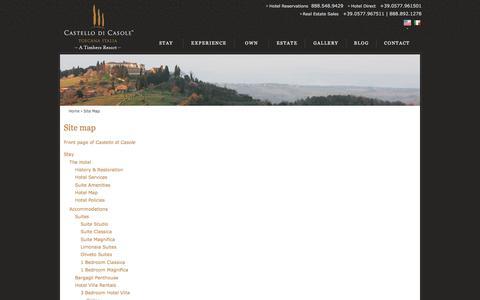 Screenshot of Site Map Page castellodicasole.com - Site map | Castello di Casole - captured July 11, 2016