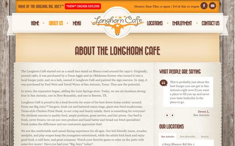 Screenshot of About Page thelonghorncafe.com - About The Longhorn Cafe | The Longhorn Cafe - captured Sept. 30, 2018