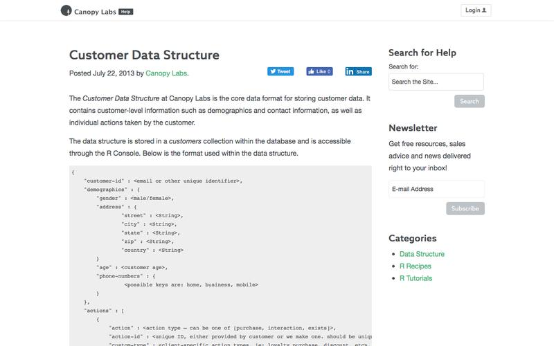 Customer Data Structure   Canopy Labs - Documentation