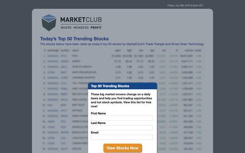 Screenshot of Landing Page ino.com - Today's 50 Top Trending Stocks - MarketClub - captured July 30, 2016