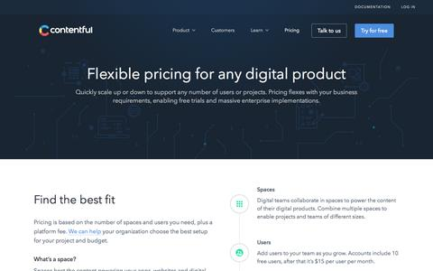 Screenshot of Pricing Page contentful.com - Pricing - captured June 30, 2018