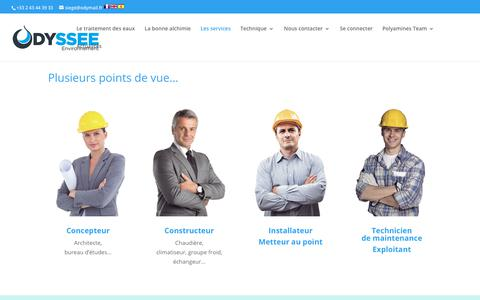 Screenshot of Services Page odyssee-environnement.fr - Les services   ODYSSEE Environnement - captured Jan. 20, 2018