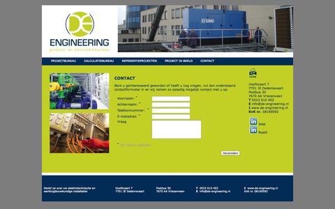Screenshot of Contact Page de-engineering.nl - CONTACT - captured Sept. 30, 2014