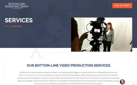 Screenshot of Services Page bottomline-productions.com - Bottom-line Productions | Video Production Services in Milwaukee - captured Aug. 3, 2018