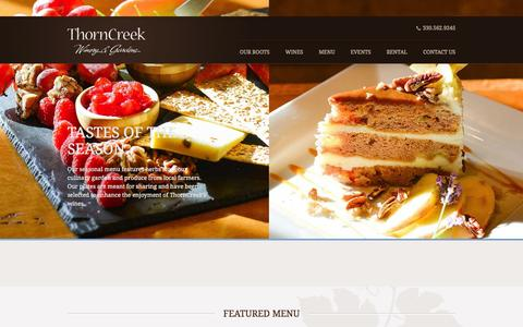 Screenshot of Menu Page thorncreekwinery.com - Menu | ThornCreek Winery - captured Oct. 7, 2014