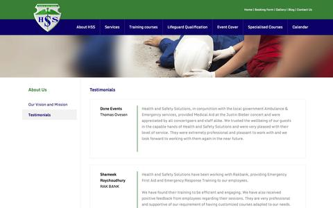 Screenshot of Testimonials Page hss-me.com - About Us > Testimonials | HSS - Event First Aid Cover And Health And Safety Training Experts - captured Oct. 2, 2014