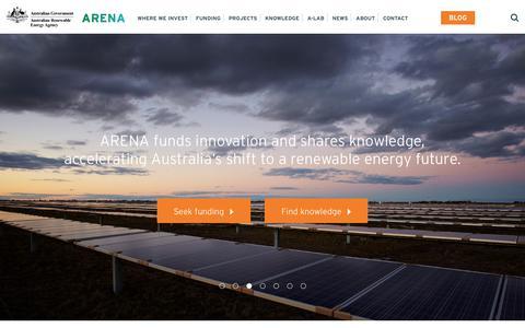 Screenshot of Home Page arena.gov.au - Home - Australian Renewable Energy Agency - captured June 27, 2017