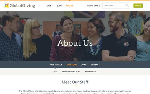 Screenshot of Team Page globalgiving.org - Our Team - GlobalGiving - captured Jan. 10, 2016