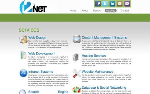 Screenshot of Services Page i2net.com - i2net : Affordable Web Design: Custom Web Design: Ecommerce - captured Dec. 25, 2016