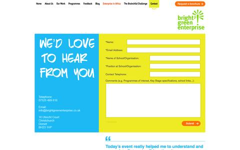 Screenshot of Contact Page brightgreenenterprise.co.uk - Contact Us |  | Bright Green Enterprise - captured Sept. 30, 2014