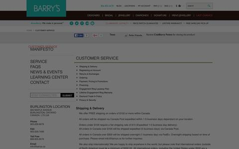 Screenshot of FAQ Page Support Page barrys.ca - Customer Service - captured Jan. 17, 2016
