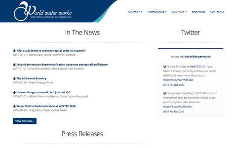 Screenshot of Press Page worldwaterworks.com - Media - World Water Works - captured Oct. 22, 2017