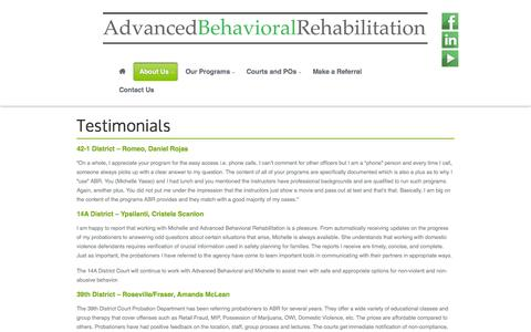 Screenshot of Testimonials Page chooseabr.com - Testimonials   Advanced Behavioral Rehabilitation - captured Oct. 4, 2014