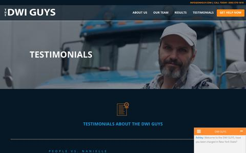 Screenshot of Testimonials Page dwiguy.com - Testimonials from DWI Guy Clients - captured Oct. 30, 2018