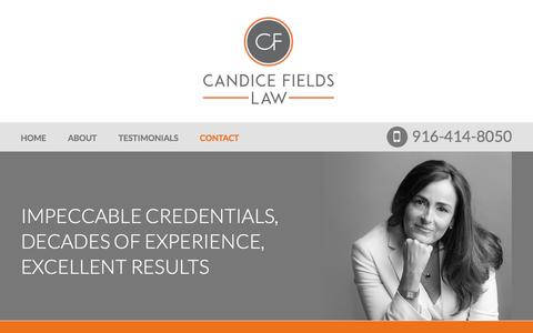 Screenshot of Contact Page candicefieldslaw.com - Contact | Candice L. Fields | Sacramento, California - captured May 13, 2017