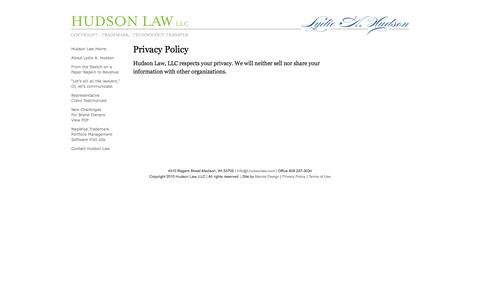 Screenshot of Privacy Page lhudsonlaw.com - Hudson Law, Privacy Policy - captured Oct. 1, 2014