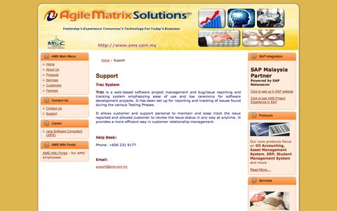 Screenshot of Support Page ams.com.my - Agile Matrix Solutions - captured Oct. 4, 2014