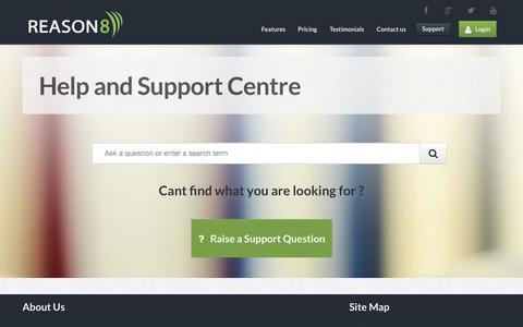 Screenshot of Support Page reason8.com - Reason8   Simple Website Builder for UK businesses - captured Sept. 30, 2014
